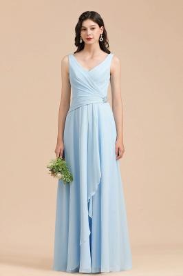 BM2002 Sky Blue Ruffles Straps Beads Bridesmaid Dress_1