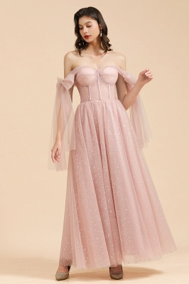 BM2007 Off The Shoulder A-line Pink Bow Tulle Bridesmaid Dress_6