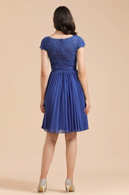 BM2003 Royal Blue Lace Short Sleeve Knee Length Bridesmaid Dress_5