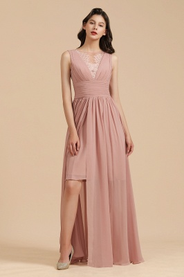BM2006 Elegant A-line Straps Lace Tulle Long Bridesmaid Dress_6
