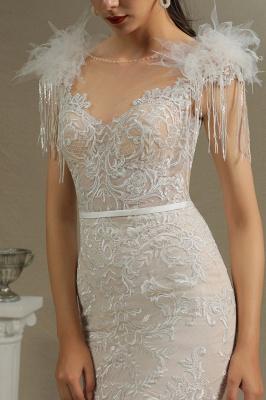 CPH233 Gergous Mermaid Appliques Further Tassel Open Back Wedding Dress_4