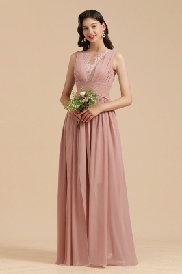 BM2006 Elegant A-line Straps Lace Tulle Long Bridesmaid Dress