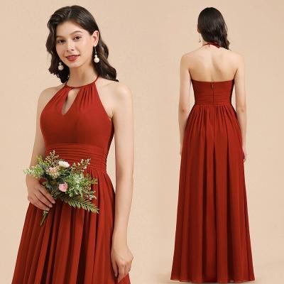 BM2004 Halter A-line Chiffon Bridesmaid Dress_11