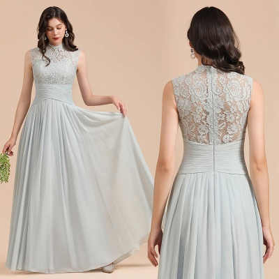 BM2001 High Neck Lace Sleeveless A-line Bridesmaid Dress_10