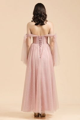 BM2007 Off The Shoulder A-line Pink Bow Tulle Bridesmaid Dress_2