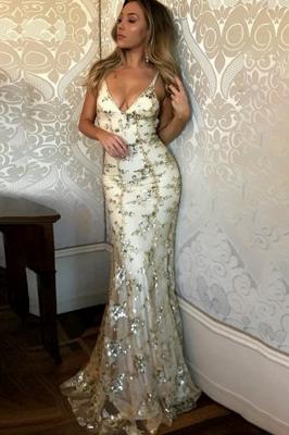 Spaghetti Staps Mermaid V-neck Floor length Crystal Beads Prom Dresses_2