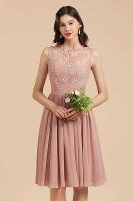 BM2008 Simple Lace Sleeveless Knee Length Short Bridesmaid Dress_1