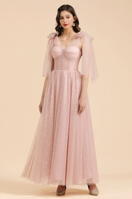 BM2007 Off The Shoulder A-line Pink Bow Tulle Bridesmaid Dress_1