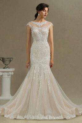 CPH234 Mermaid Lace Cap Sleeve Sheer Tulle Neckline Wedding Dress_3