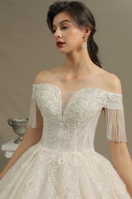 CPH224 Off-the-shoulder Appliques Beads Tassel Ball Gown Wedding Dress_7