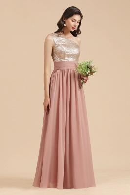 BM2010 One Shoulder Sequins A-line Pink Bridesmaid Dress_6