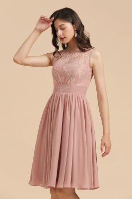 BM2008 Simple Lace Sleeveless Knee Length Short Bridesmaid Dress_7