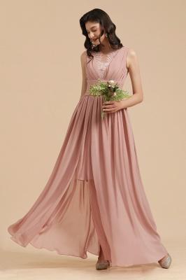 BM2006 Elegant A-line Straps Lace Tulle Long Bridesmaid Dress_8