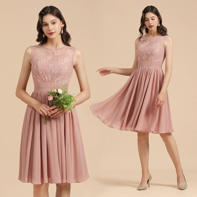 BM2008 Simple Lace Sleeveless Knee Length Short Bridesmaid Dress_10