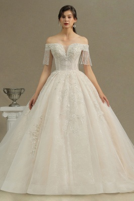 CPH224 Off-the-shoulder Appliques Beads Tassel Ball Gown Wedding Dress_2
