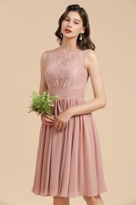 BM2008 Simple Lace Sleeveless Knee Length Short Bridesmaid Dress_9