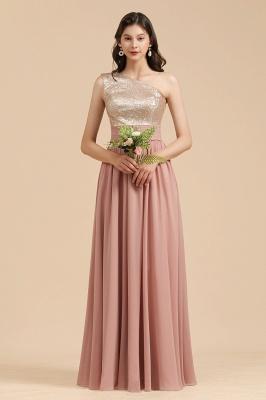 BM2010 One Shoulder Sequins A-line Pink Bridesmaid Dress_7