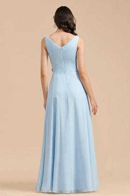 BM2002 Sky Blue Ruffles Straps Beads Bridesmaid Dress_3