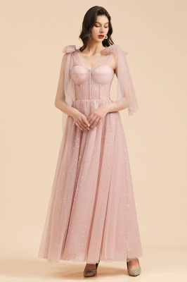 BM2007 Off The Shoulder A-line Pink Bow Tulle Bridesmaid Dress_5