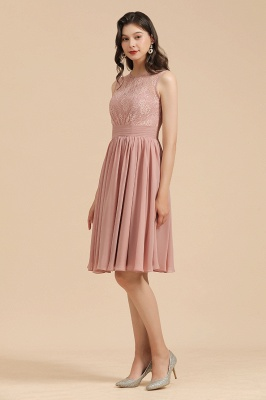 BM2008 Simple Lace Sleeveless Knee Length Short Bridesmaid Dress_5
