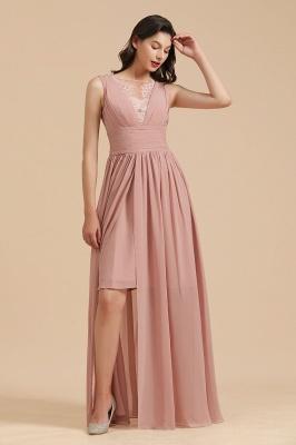 BM2006 Elegant A-line Straps Lace Tulle Long Bridesmaid Dress_5