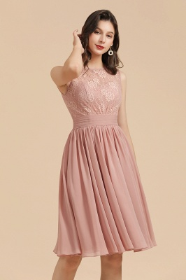 BM2008 Simple Lace Sleeveless Knee Length Short Bridesmaid Dress_8