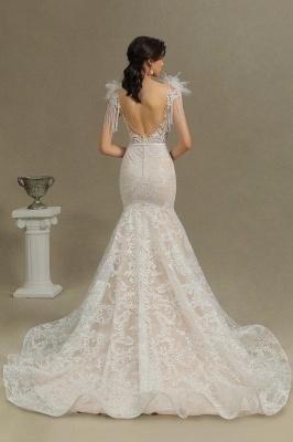 CPH233 Gergous Mermaid Appliques Further Tassel Open Back Wedding Dress_7