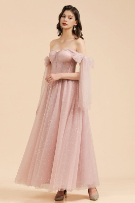 BM2007 Off The Shoulder A-line Pink Bow Tulle Bridesmaid Dress_4