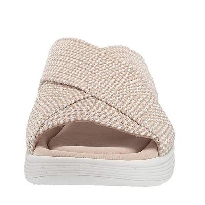 Women Comfort Weave Stretch Cross Sandals Summer Non-Slip Wedge Platform Beach Sandals_9