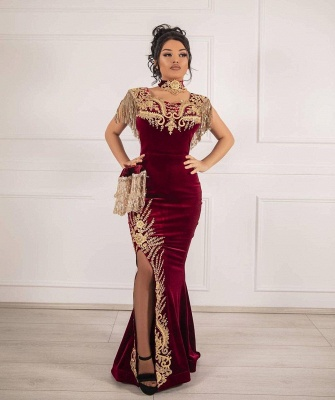 ZY649 Burgundy Velvet Evening Dresses Long Cheap Prom Dresses With Lace_3