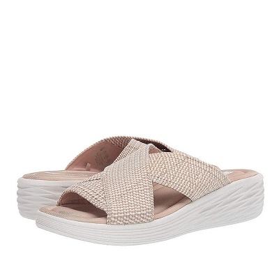 Women Comfort Weave Stretch Cross Sandals Summer Non-Slip Wedge Platform Beach Sandals_7