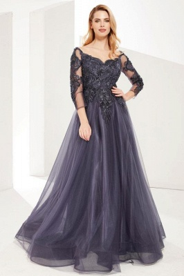 ZY626 Evening Dresses Long Gray Prom Dresses With Sleeves_1