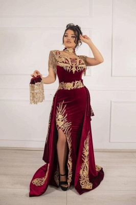 ZY649 Burgundy Velvet Evening Dresses Long Cheap Prom Dresses With Lace_1
