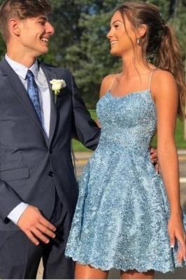 ZY625 Cocktail Dresses Party Dresses Blue Short Lace Prom Dresses_1