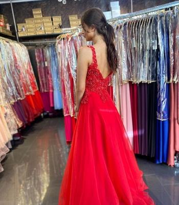 ZY620 Evening Dresses Long V Neckline Red Prom Dresses Cheap_2