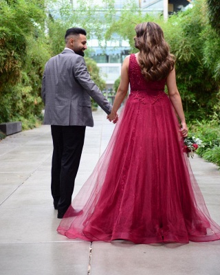ZY627 Wine Red Evening Dresses With Lace Prom Dresses Long Cheap_2