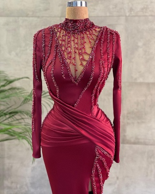 ZY654 Luxury Evening Dresses Long Wine Red Prom Dresses With Sleeves_2