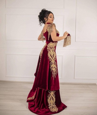 ZY649 Burgundy Velvet Evening Dresses Long Cheap Prom Dresses With Lace_2