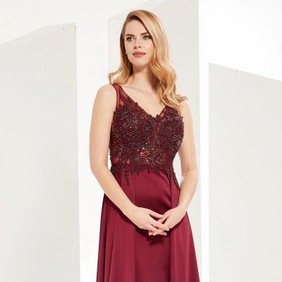 ZY641 Evening Dress Long V Neckline Wine Red Prom Dresses Cheap_2