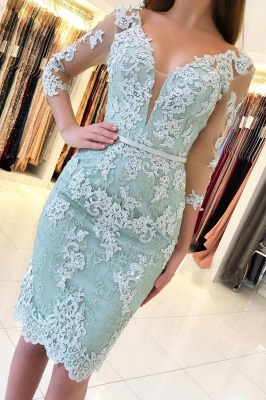 ZY648 Mint Cocktail Dresses Short Cheap Evening Dresses With Sleeves_1
