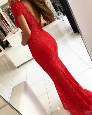 ZY650 Red Evening Dress Long V Neck Lace Prom Dresses_3