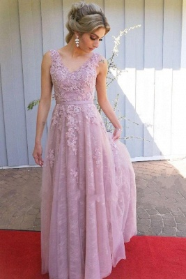 ZY652 Evening Dress Long Pink Prom Dresses Lace Cheap_1