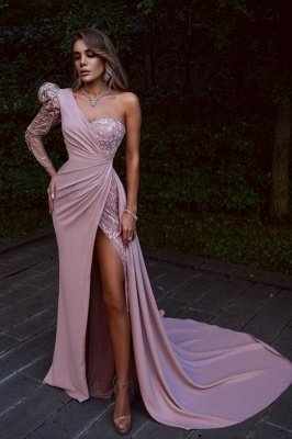 ZY657 Elegant Evening Dresses Long Pink Prom Dresses With Lace_1