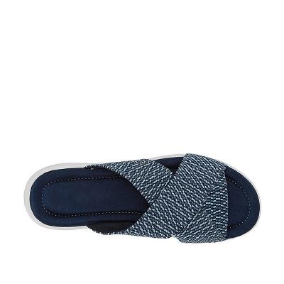 Women Comfort Weave Stretch Cross Sandals Summer Non-Slip Wedge Platform Beach Sandals_2