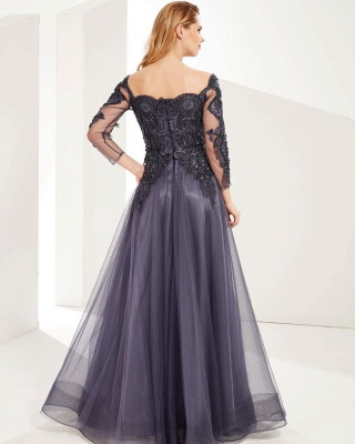ZY626 Evening Dresses Long Gray Prom Dresses With Sleeves_2
