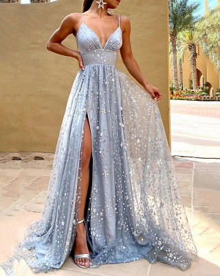 ZY637 Silver Evening Dresses Long Glitter Prom Dresses Cheap_5
