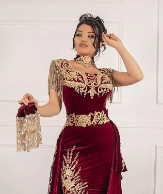 ZY649 Burgundy Velvet Evening Dresses Long Cheap Prom Dresses With Lace_4