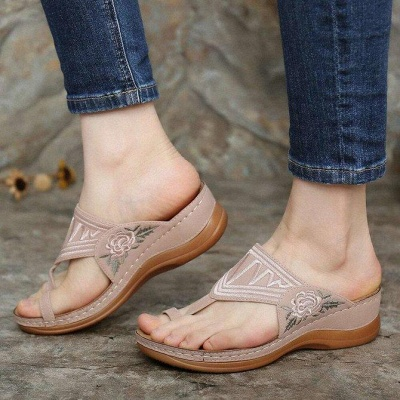 SD2133 Embroidery Orthopedic Comfy Flip Flop Sandals_1