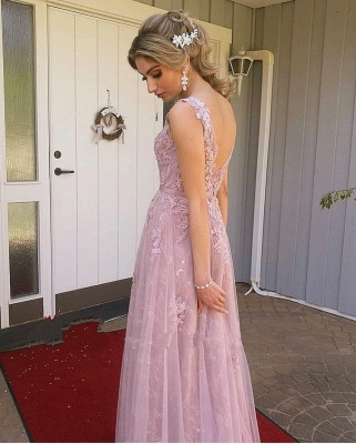ZY652 Evening Dress Long Pink Prom Dresses Lace Cheap_2
