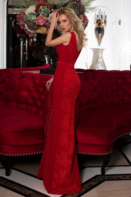 ZY618 Designer Evening Dresses Long Red Prom Dresses With Lace_2